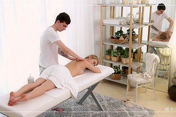 She Rides Her Massage Therapist's Big Cock